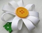 Summer Hair Bow White Ribbon Daisy Non-slip Baby Snap Hair Clip-Simply Beautiful