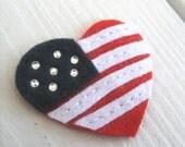 Patriotic Heart 4th of July Non-slip Baby Snap Hair Clip Hair Bow