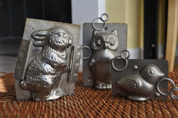 Vintage Chocolate Molds - Set of 3 Small Molds - Bunny, Chick and Owl