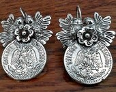 Frida style earrings Lovebirds with a flower and a silver old mexican 20 cent coin