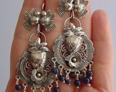 Mexican earrings, lovebirds with filigree flower, heart with pretty lapis beads. SALE  OFF