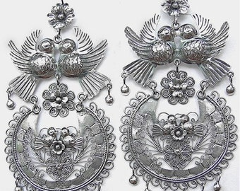 Frida's Large filigree earrings with flower lovebirds, decorated with filigree. LAST PIECES