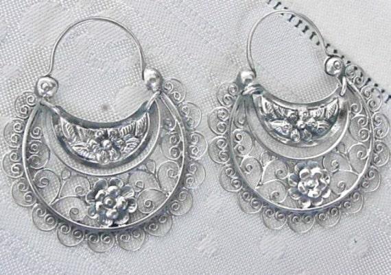 Sale  Frida K style earrings silver .925 hoops delicate flower and filigree.