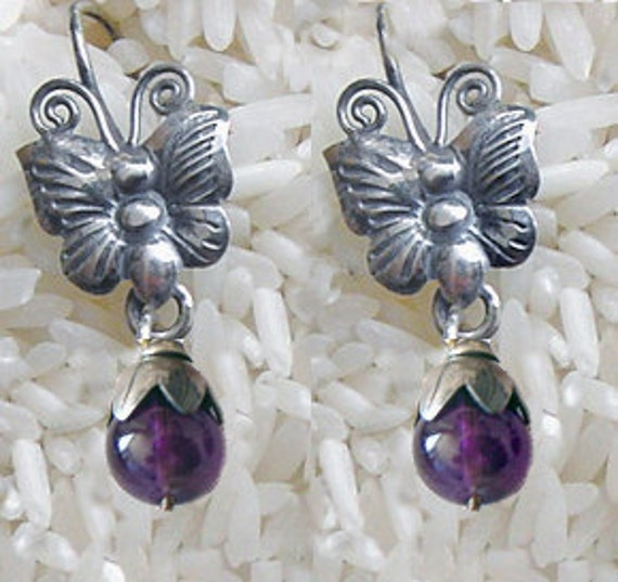 Sale   from 45 to 35    Frida Style earrings Butterfly  with Amethyst