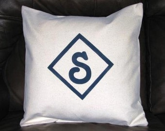 Monogrammed Pillow Cover - Canvas - 14 inches square