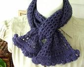 Deep Plum lightweight crocheted scarf