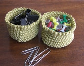 Twin Golden Hand Crocheted, Mini Baskets, Mercerized Cotton, Crochet Bowl, Free U.S. Shipping