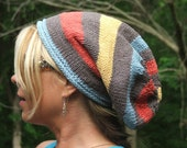 Knitting .pdf PATTERN for Super Slouchy Wide Striped Hat