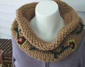 Lushly Flowered, Hand Knit, Hand Embroidered Jacobean Cowl in Sandstone, Neck Warmer, Scarf