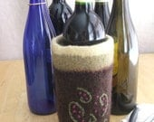 Handknit, Felted, Embroidered Wine Bottle Cozy