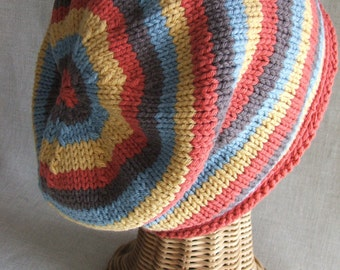 Slouchy Striped knit hat PDF PATTERN
