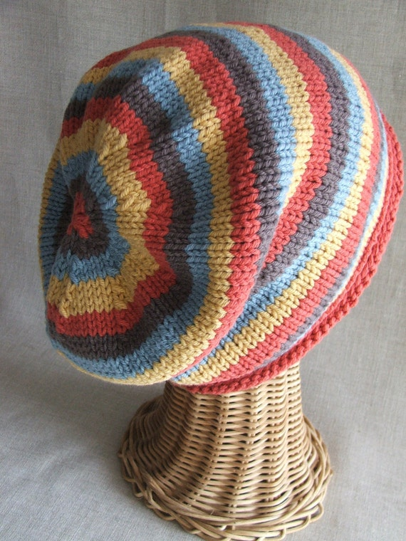 Slouchy Striped knit hat PDF PATTERN