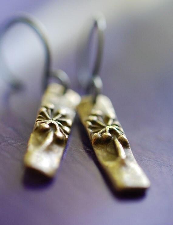 Bronze Dandelion Earrings