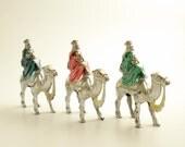 Three Wisemen on Camels Vintage Christmas Tree Ornaments