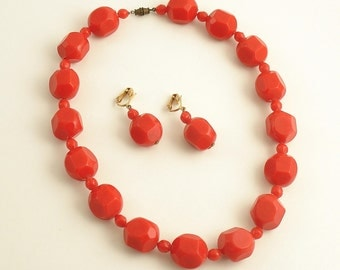 Vintage Necklace Clip On Earrings Red Costume Jewelry
