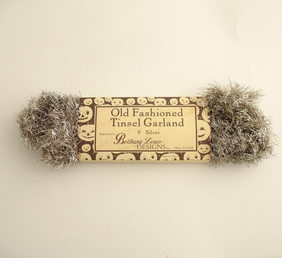 Silver tinsel garland vintage style christmas