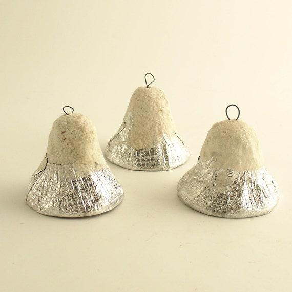 3 Vintage Paper Mache Bells Christmas