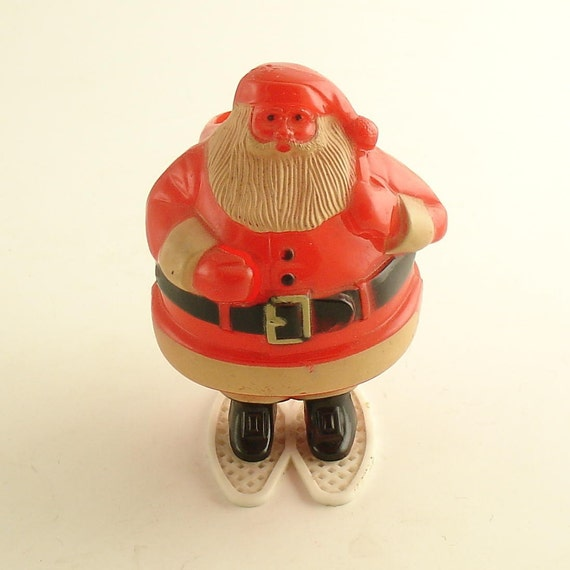 Vintage Santa Claus on Snowshoes Candy Container