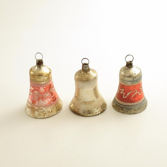 Antique glass bell christmas tree ornaments germany