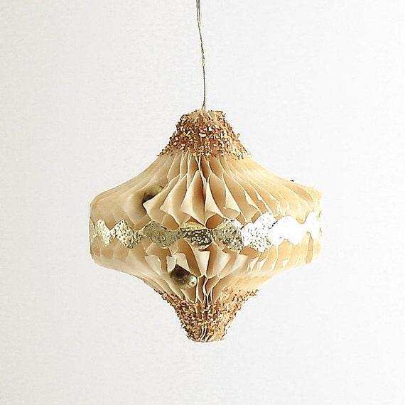 Vintage Christmas Ornament Honeycomb Lantern w Glass Beads