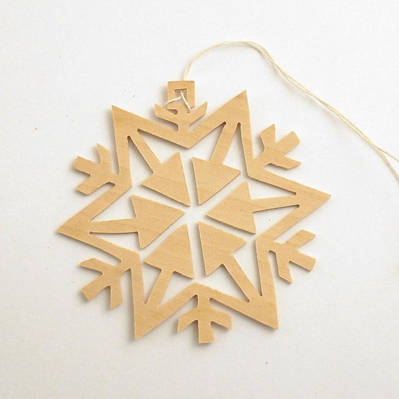 Vintage Christmas Ornament Wood Snowflake