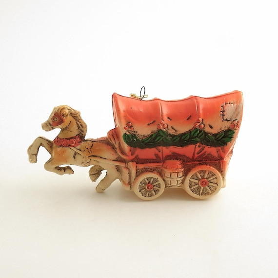 Vintage Christmas Ornament Covered Wagon