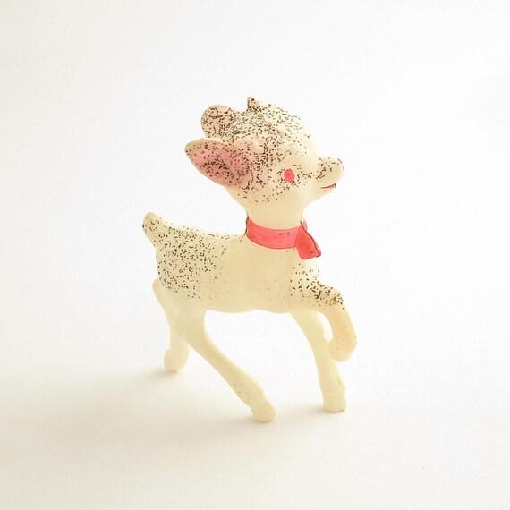 Vintage Celluloid Deer Figurine Christmas