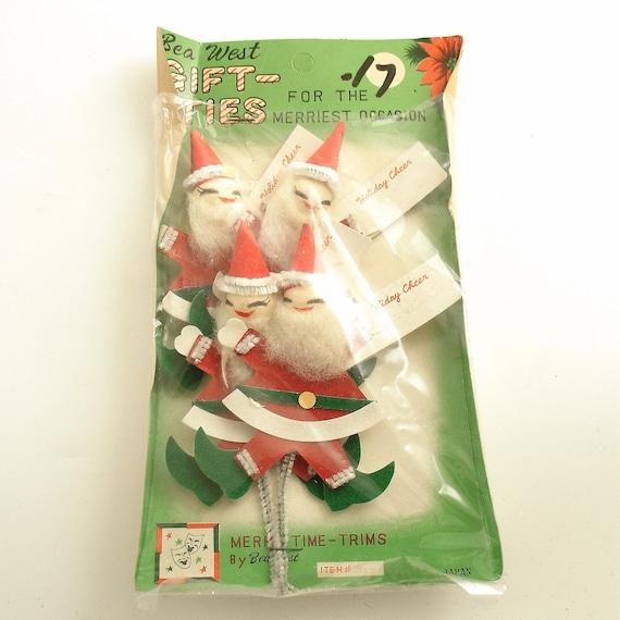 Vintage Santa Claus Decorations Picks Christmas Orig Pkg