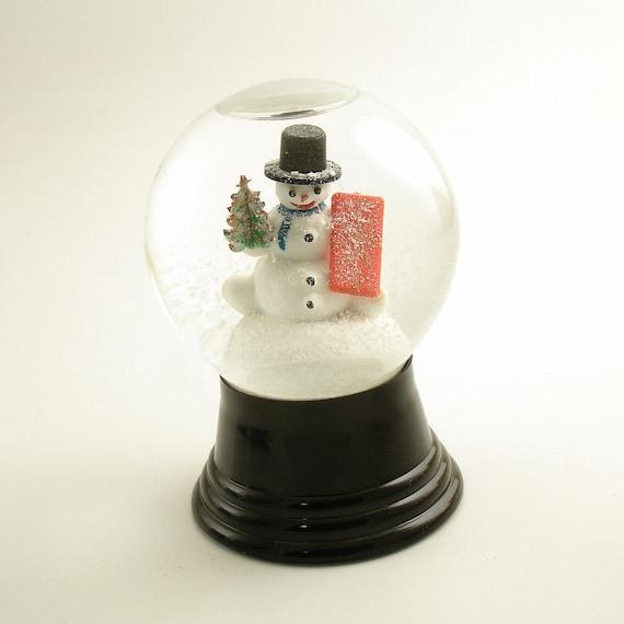 Vintage Christmas Snowglobe with Snowman Snow Globe Austria