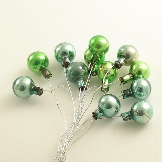 Vintage Glass Picks Christmas Decorations Aqua & Green Glass