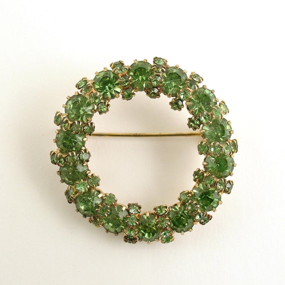 Vintage Brooch Green Rhinestone Brooch