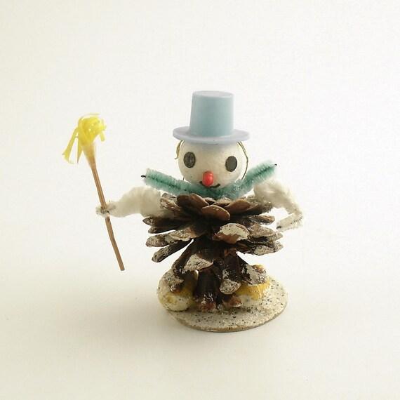 Vintage Christmas Ornament Snowman Pinecone