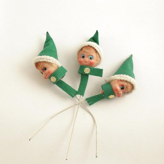 3 Vintage Christmas Pixies Elves on Picks