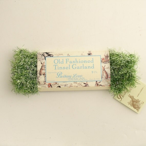 Vintage style green tinsel garland christmas easter