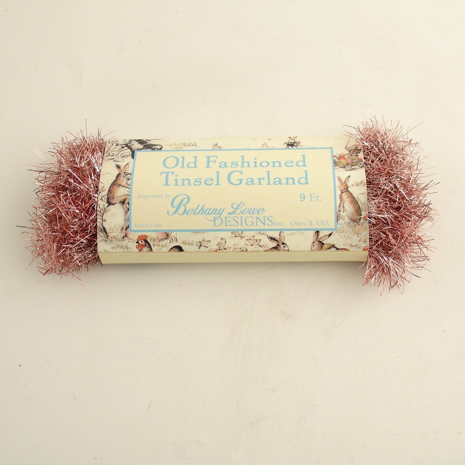 Pink tinsel garland vintage style christmas