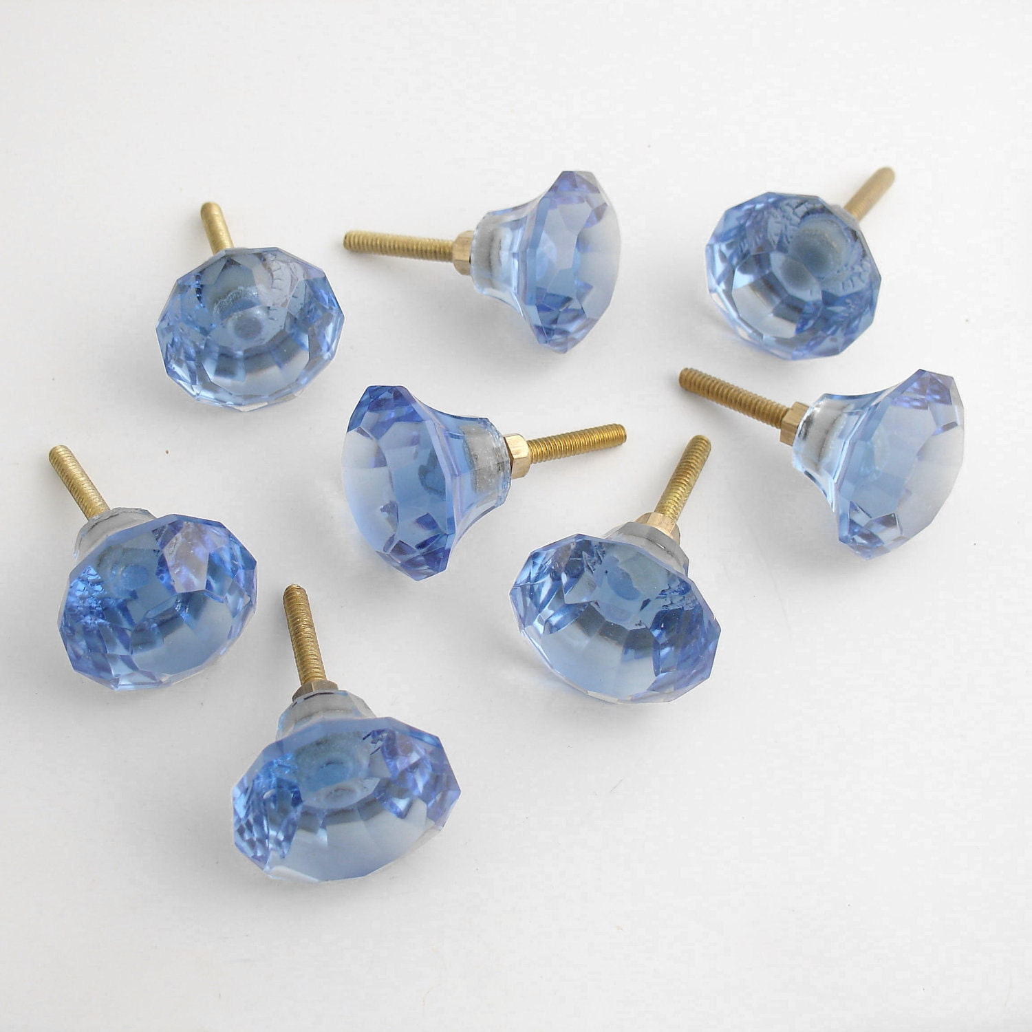 Set 8 blue glass drawer pulls knobs handles pull drawer knob for Small door knobs and handles