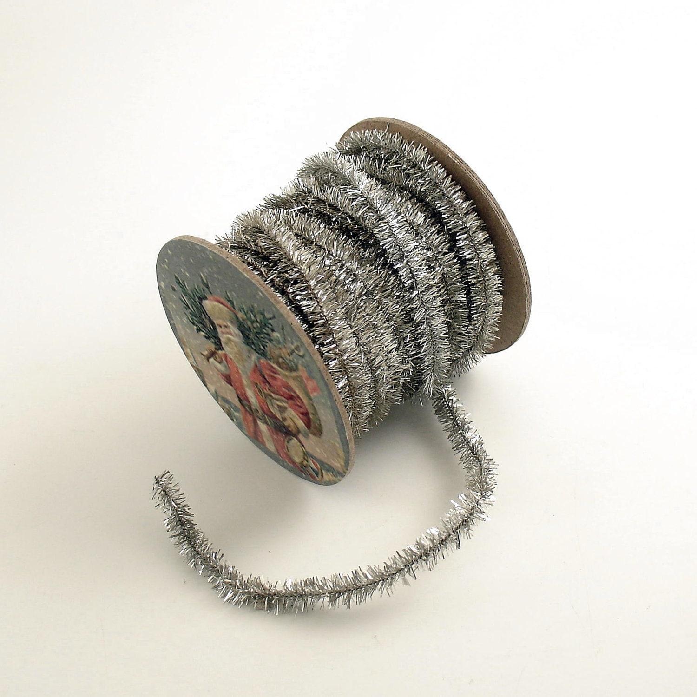 Silver tinsel garland wired