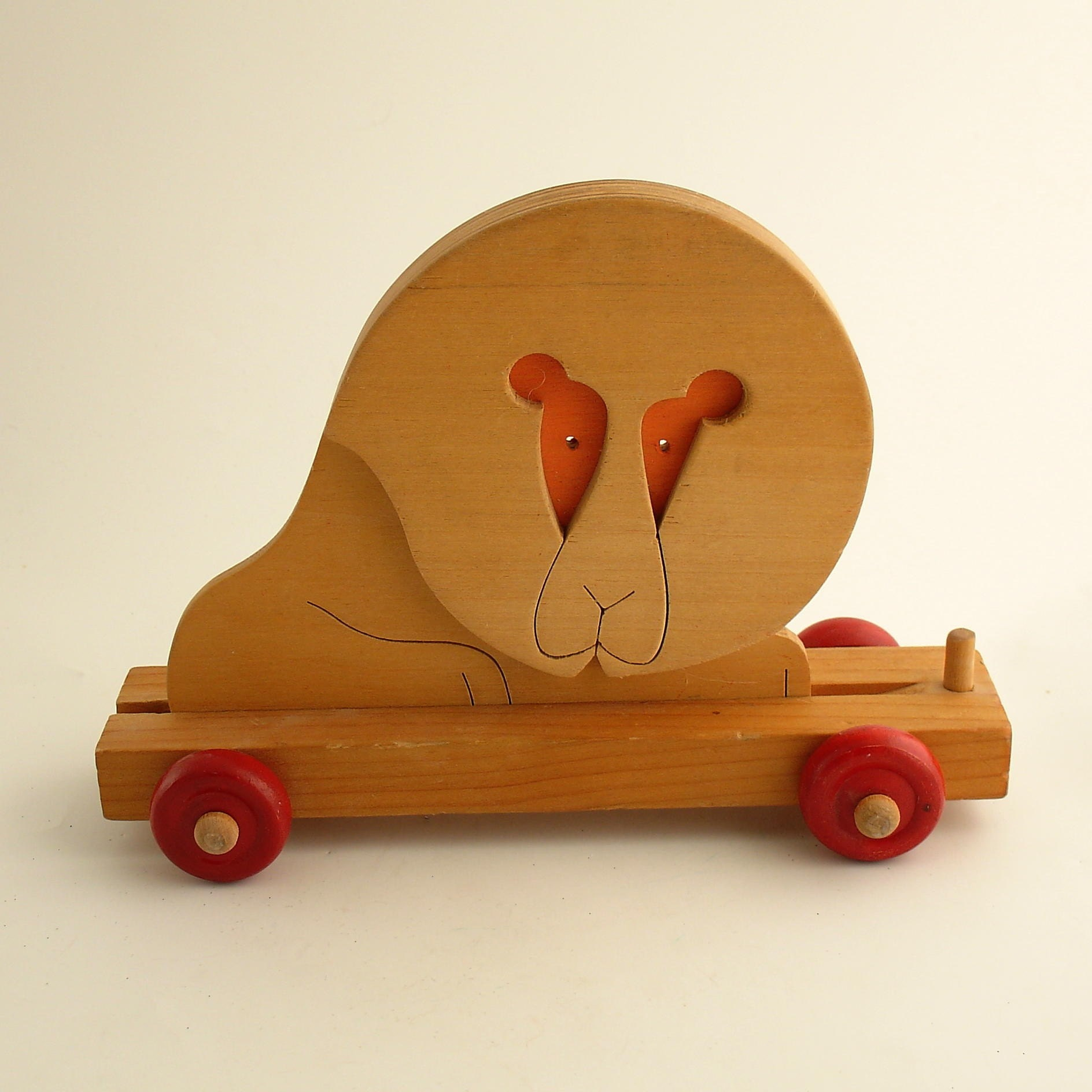 Vintage Toy Wood Circus Train Car With Lion Scandinavian