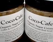 Organic Sugar Scrub - Coco-Cafe Sugar Creme - Coconut - Coffee Emulsifying Body Scrub with Shea Butter - Natural, Vegan, Organic