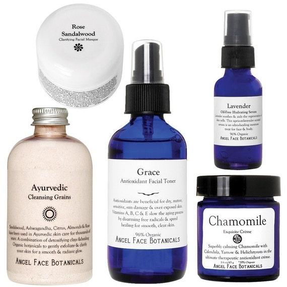 Spa Facial Kit - Cleanser, Steam, Masque, 2 Serums, Toner, Moisturizer - Organic Skin Care Trial Set