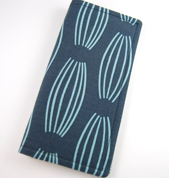 Fabric Checkbook Cover, Checkbook Holder, Women's Wallet, Checkbook Wallet , steel blue and chambray modern