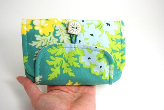 Zipper Wallet, Women's Wallet, Women's Billfold Wallet, Fabric Women's Wallet- Nicey Jane, blue yellow, linen