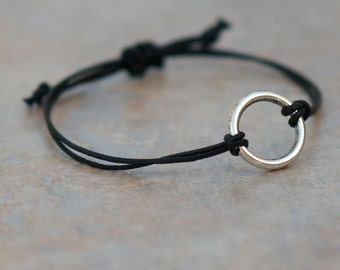 Simple Infinity Circle Bracelet - silver and black waxed cotton cord with adjustable sliding knot closure