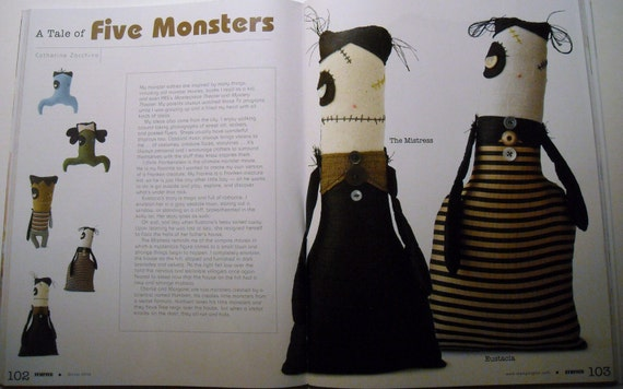 Handmade Plush Monster The Mistress (Featured In Stuffed Magazine) This Item Includes A Complimentary Issue Of Stuffed Magazine vol 3 Winter 2010