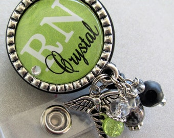 Personalized ID badge reel - Nurse silver pendant  - medical symbol, RN BSN, nurse practitioner, instructor, teacher
