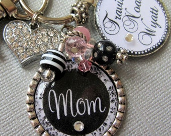 Mother Gift  PERSONALIZED gift, Mom Necklace- Children's Names, Valentine's Day gift, Black Damask, Rhinestone Heart Charm Mother's Day gift