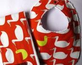 Baby Bib and Burp Cloth Set in Ducks on Orange