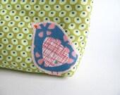 Zipper Pouch Cosmetic Bag Okra Dots and Blue Bird