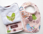 Reserved for Lindy - Baby Bib, Burp Cloth, and Onesie Set in Petal Pink Starling