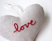 Heart Ornament- Embroidered Love Red